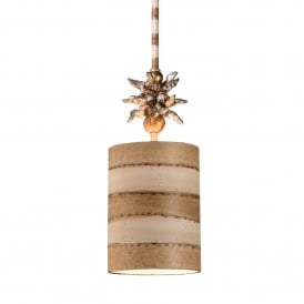 Anemone Single Light Ceiing Pendant in Gold Leaf and Cream Finish
