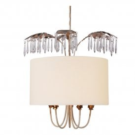 Antoinette 5 Light Ceiling Pendant in Cream Patina Finish complete with Linen Drum Shade