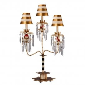 Flambeau Birdland III 3 Light Candelabra Table Lamp in Gold and Cream Patina with Crystal Droplets