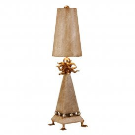 Flambeau Leda Single Light Table Lamp in Cream Patina and Silver and Gold Finish