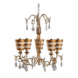 Flambeau Tivoli 5 Light Chandelier in Gold and Cream Patina with Crystal Detail