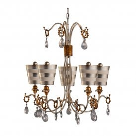 Flambeau Tivoli 5 Light Chandelier in Silver and Cream Patina with Crystal Detail