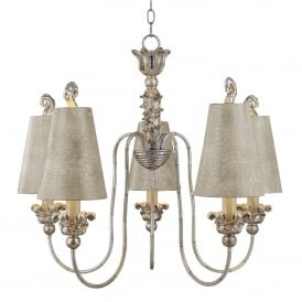 Remi 5 Light Chandelier with Grey & White Crackle Shades