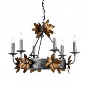 Simone 6 Light Chandelier in Distressed Silver Finish with Gold Leaf Accents