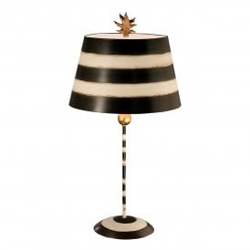 Flambeau South Beach Single Light Table Lamp in Black and Cream Finish Complete with Parchment Shade