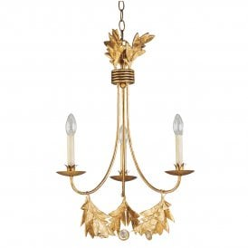 Sweet Olive 3 Light Chandelier in Gilded Gold Finish with Crystal Detail