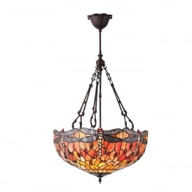 Flame Dragonfly Large Inverted 3 Light Ceiling Pendant with Classic Tiffany Design