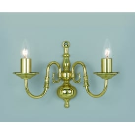 Flemish 2 Light Wall Fitting In Polished Brass Finish