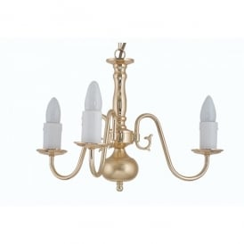 Flemish 3 Light Ceiling Multi Arm Chandelier in Polished Brass Finish