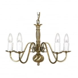 Flemish 5 Light Ceiling Fitting in Antique Brasss Finish