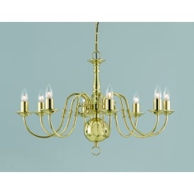 Flemish 8 Light Ceiling Pendant In Polished Brass Finish