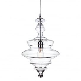 Florence Single Light Ceiling Pendant In Polished Chrome Finish With Clear Glass Shade