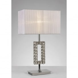 Florence Single Light Rectangular Table Lamp In Polished Chrome And Crystal Finish