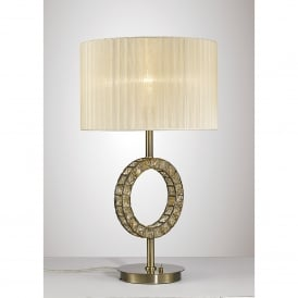 Florence Single Light Table Lamp In Antique Brass And Crystal Finish