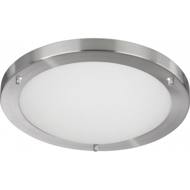 Searchlight Lighting Flush Bathroom Ceiling Fitting With Satin Silver Detail