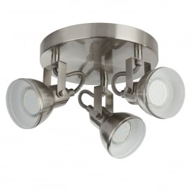 Focus 3 Light Ceiling Spotlight Fitting in Satin Silver Finish