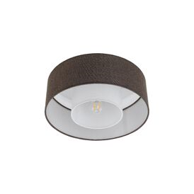 Fontao Single Light Semi Flush Ceiling Fitting With Brown Fabric Shade