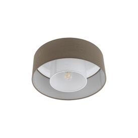 Fontao Single Light Semi Flush Ceiling Fitting With Taupe Fabric Shade