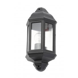Athena Single Light Half Lantern Coastal Outdoor Wall Fitting In Black Finish