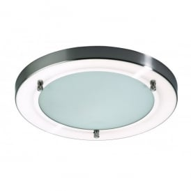 Canis Large 2 Light Polished Chrome Bathroom Ceiling Fixture with Frosted Glass