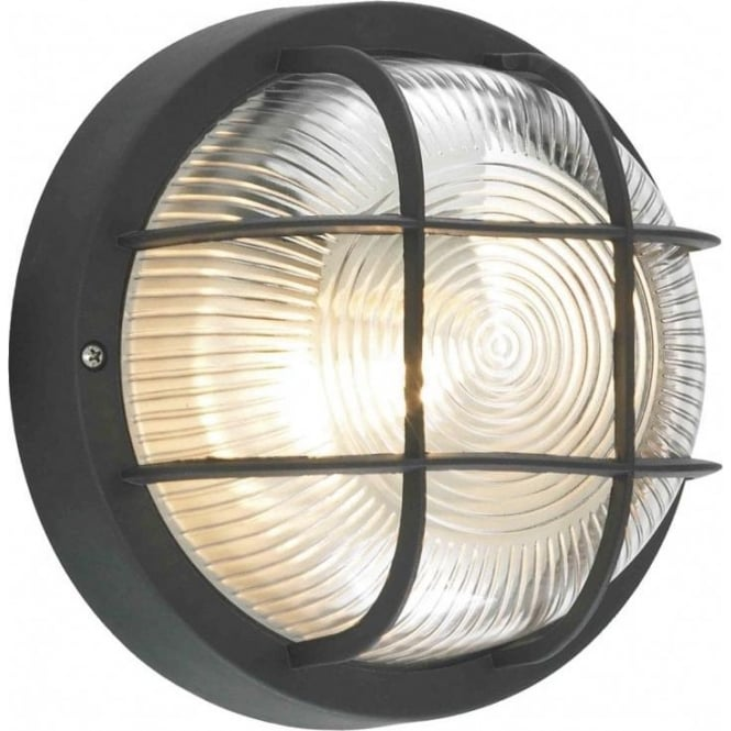 Forum Lighting CZ-20947-BLK Mars Single Light Bulkhead Wall Fitting with  Black Frame and Glass Diffuser