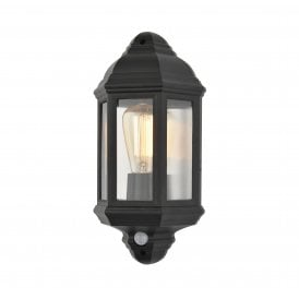 CZ-26743-BLK Athena Single Light Half Lantern Coastal Outdoor Wall Fitting In Black Finish With PIR Sensor