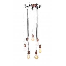INL-31789-ACOP Padua 7 Light Ceiling Pendant In Antique Copper Finish