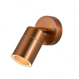 Leto Single Light Outdoor Wall Light in Copper Finish