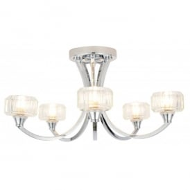 Octans 5 Light Ceiling Fixture with a Polished Chrome Finish and Clear Glass Shades