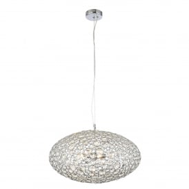 Ovus 3 Light Bathroom Ceiling Pendant In Polished Chrome And Clear Glass Finish