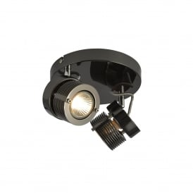 Pedro 2 Light Ceiling Spot Light Fitting In Black Chrome Finish
