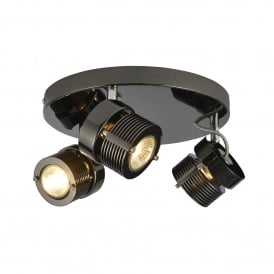 Pedro 3 Light Ceiling Spot Light Fitting In Black Chrome Finish