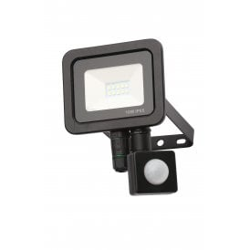 Rye 10w LED Outdoor Wall Mounted Floodlight In Black Finish With PIR Sensor