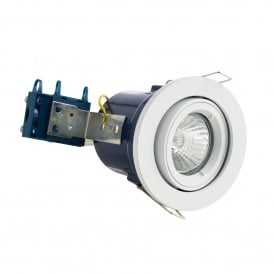 Single Light Recessed Adjustable Fire Rated Downlight In White Finish