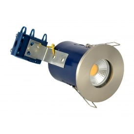 Single Light Recessed Bathroom Fire Rated Downlight In Satin Chrome Finish
