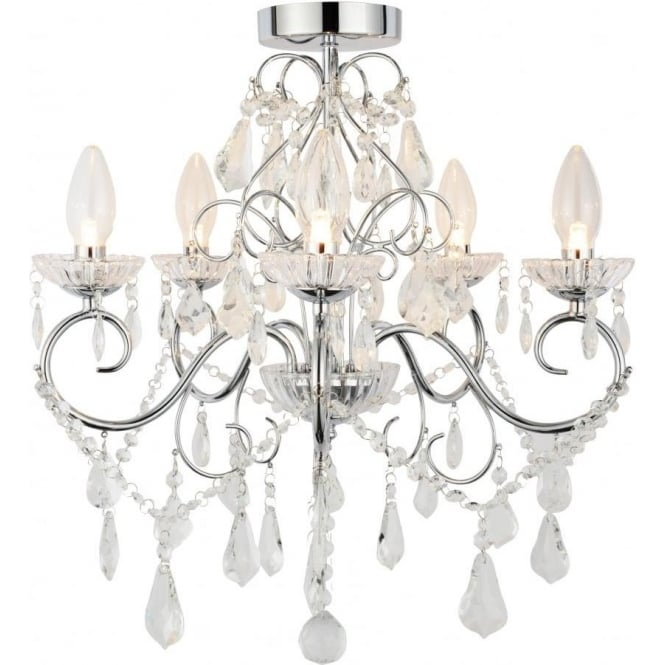 Flush Chandelier Forum lighting spa 19713 chr vela 5 light semi flush bathroom spa 19713 chr vela 5 light semi flush bathroom chandelier in polished chrome audiocablefo