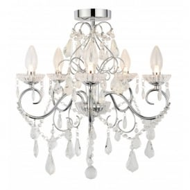 SPA-19713-CHR Vela 5 Light Semi-Flush Bathroom Chandelier in Polished Chrome with Glass Detail