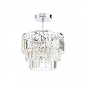 Spa Belle 3 Light Semi Flush Ceiling Fitting in Chrome Finish with Crystals