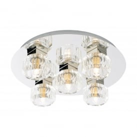 Spa Octans 5 Light Flush Ceiling Fitting in Chrome Finish with Glass