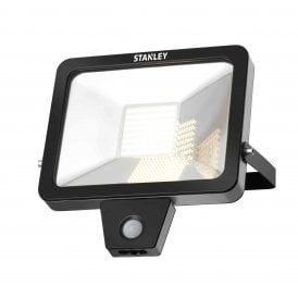 SXLS300076KBE Stanley 50w LED Outdoor Wall Mounted Floodlight In Black Finish With PIR Sensor