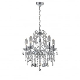 WF-25254-CHR Annalee 5 Light Large Bathroom Ceiling Chandelier in Polished Chrome Finish