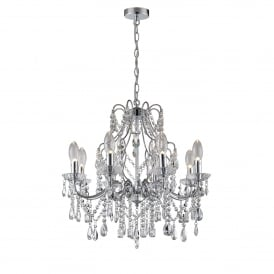 WF-25255-CHR Annalee 8 Light Bathroom Ceiling Chandelier in Polished Chrome Finish