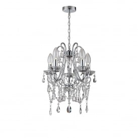 WF-25256-CHR Annalee 5 Light Small Bathroom Ceiling Chandelier in Polished Chrome Finish