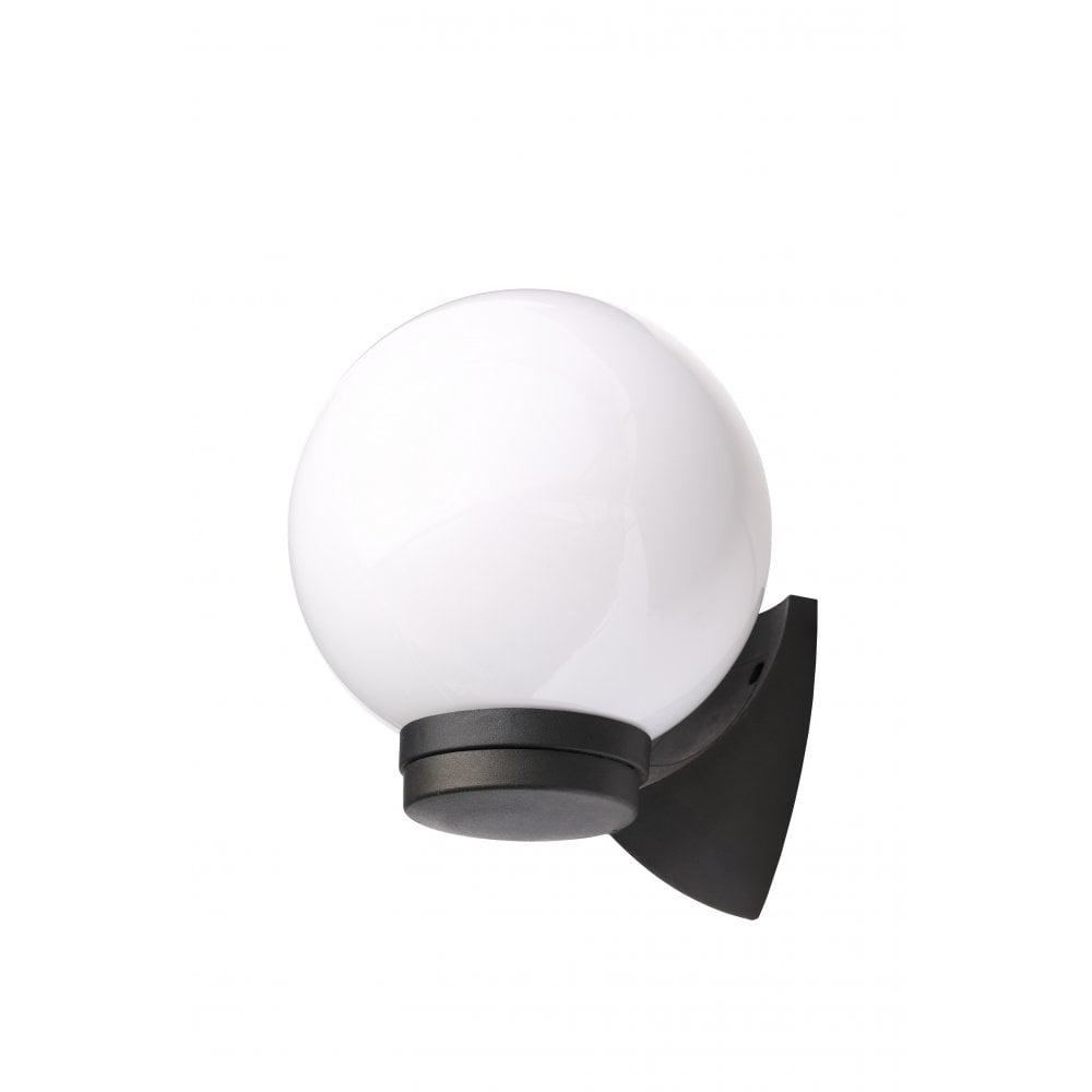 York single light coastal outdoor wall fitting in black finish with white globe shade