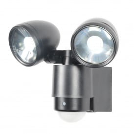 ZN-23454-BLK Sirocco Twin 3W LED Black Spotlight with PIR Sensor