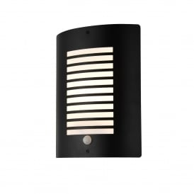 ZN-28708-BLK Sigma Single Light Panel Slatted Outdoor Wall Fitting In Black Finish With PIR Sensor