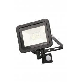 ZN-31298-BLK Rye 20w LED Outdoor Wall Mounted Floodlight In Black Finish With PIR Sensor