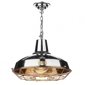 Foundry Single Light Ceiling Pendant in Polished Chrome Finish with Copper Cage