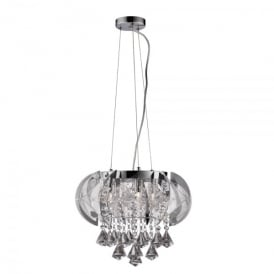 Fountaine 5 Light Halogen Ceiling Pendant In Polished Chrome And Crystal Finish