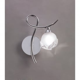 Fragma Single Light Switched Wall Fitting in Polished Chrome Finish (Right)